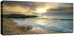 Large-Pebbled-Beach-Canvas-Picture-Sunset-Sea-Canvas-Wall-Art-113-x-52-cm