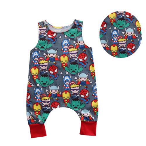Newborn Baby Boy Romper Jumpsuit Cartoon Heros Pattern Summer Clothes Outfits
