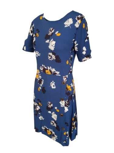 LADIES EX FAMOUS STORES BLUE FLORAL PRINT SUMMER TEA DRESS PETITE OR REG