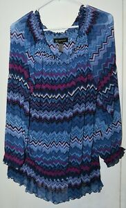 Inc-blue-purple-Sheer-pullover-blouse-with-shirring-neckline-and-hip-2x