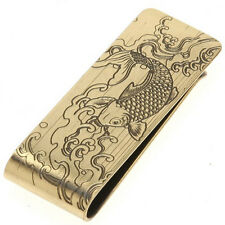 Japanese Money Clip Gold-tone Metal Engraved Steel Cut KOI Fish/Made in Japan