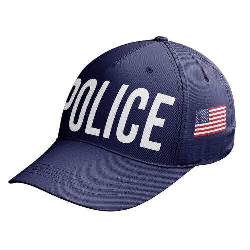 Police Cap Fancy Dress Black Baseball Cap Swat America Flag Outfit Hat C14