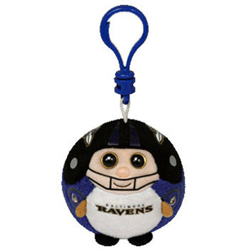 BALTIMORE RAVENS TY NFL Beanie Baby Ballz Plastic Key Clip - 2.5 inch - MWMT