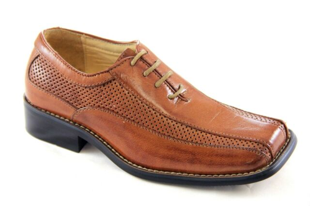 La Milano Boy's Tan Genuine Leather Oxford Dress Shoes Style# AT2251
