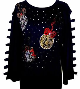 X-LARGE-3-4-Ladder-Sleeve-Top-Hand-Embellished-Rhinestone-Christmas-Ornaments