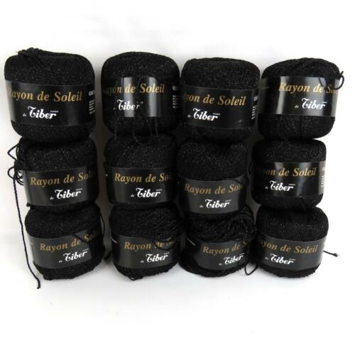 Lot of 12 Tiber Rayon de Soleil Shiny Black Strand 50g 93yds Crochet Thread Yarn