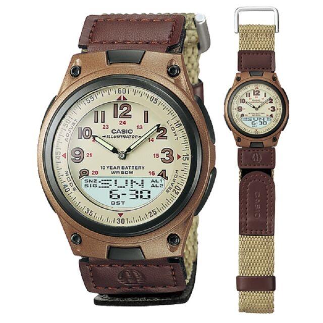 Casio AW-80V-5 Brown Canvas Strap Digital Analog Dual Time 50m Sports Watch