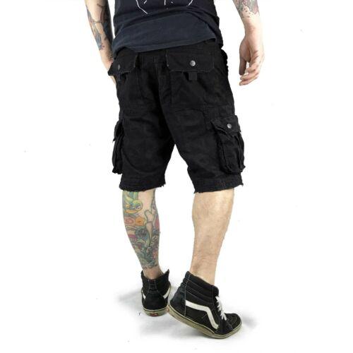 "Yakuza-Cargo Shorts cod 10036 /""all-over/"" BLACK NERO"