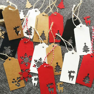Christmas-Vintage-Tags-Gifts-Decor-Creative-Paper-Bookmarks-Tags-Tree-Deer-QP