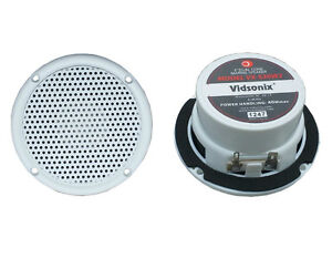 3-034-Boat-Spa-Shower-Marine-Audio-Speaker-PAIR-WHT-VX-S30W2-RV-ATV-Motorcycle-NEW