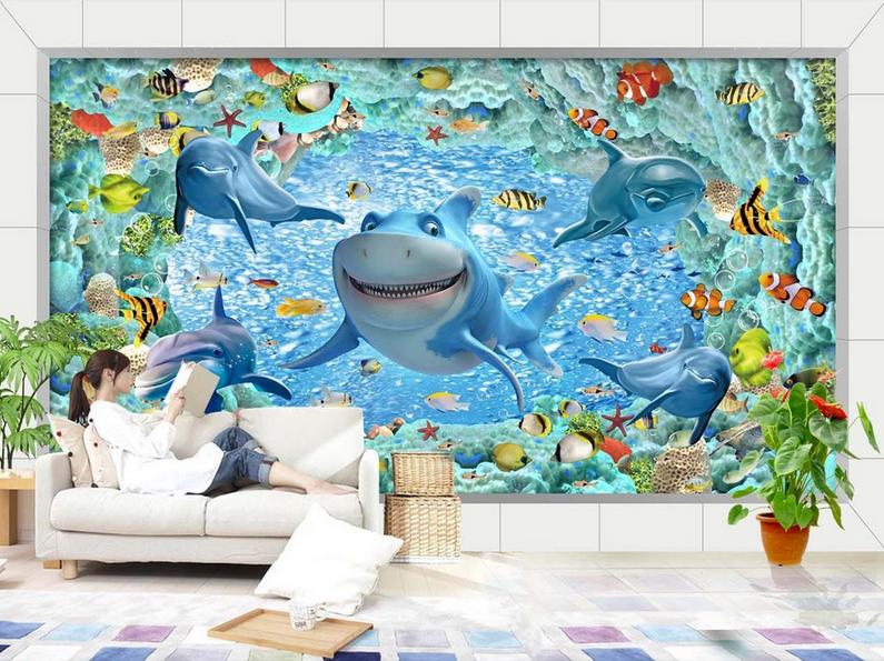 3D Dolphin Sea 4121 Wallpaper Murals Wall Print Wallpaper Mural AJ WALL UK Carly