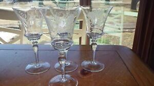 Vintage Etched Water Goblets Elegant cut floral design stylish bowl stem 4 9oz