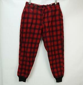 Vintage Woolrich Para Hombres Pantalones A Cuadros Escoceses De Caza De Bufalo Lana Pesadas Rojo Negro W 34 Ebay