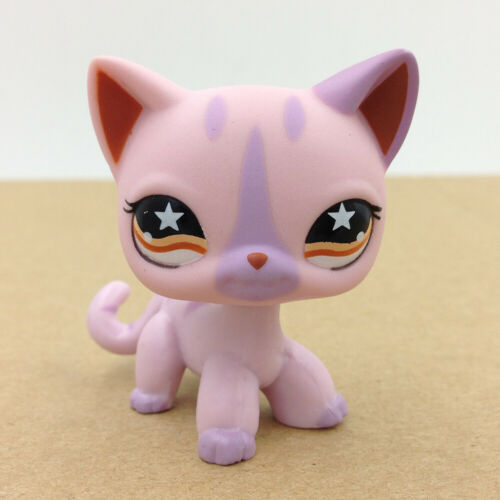 Littlest LPS #933 Pet Shop Orange Star Eye Siamese Kitty Purple Short Hair Cat