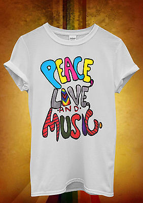 Peace Love and Music Cool Funny Men Women Unisex T Shirt Tank Top Vest 629