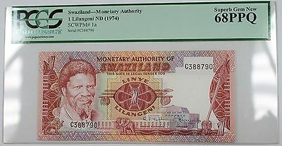 (1974) Swaziland 1 Lilangeni Note Scwpm# 1a Pcgs 68 Ppq Superb Gem New