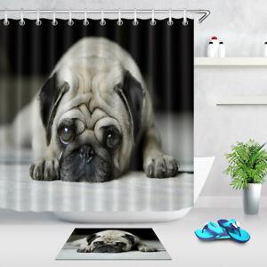 "72X72/""Cute Christmas Dog and Gift Shower Curtain Liner Waterproof Bath Mat Hooks"