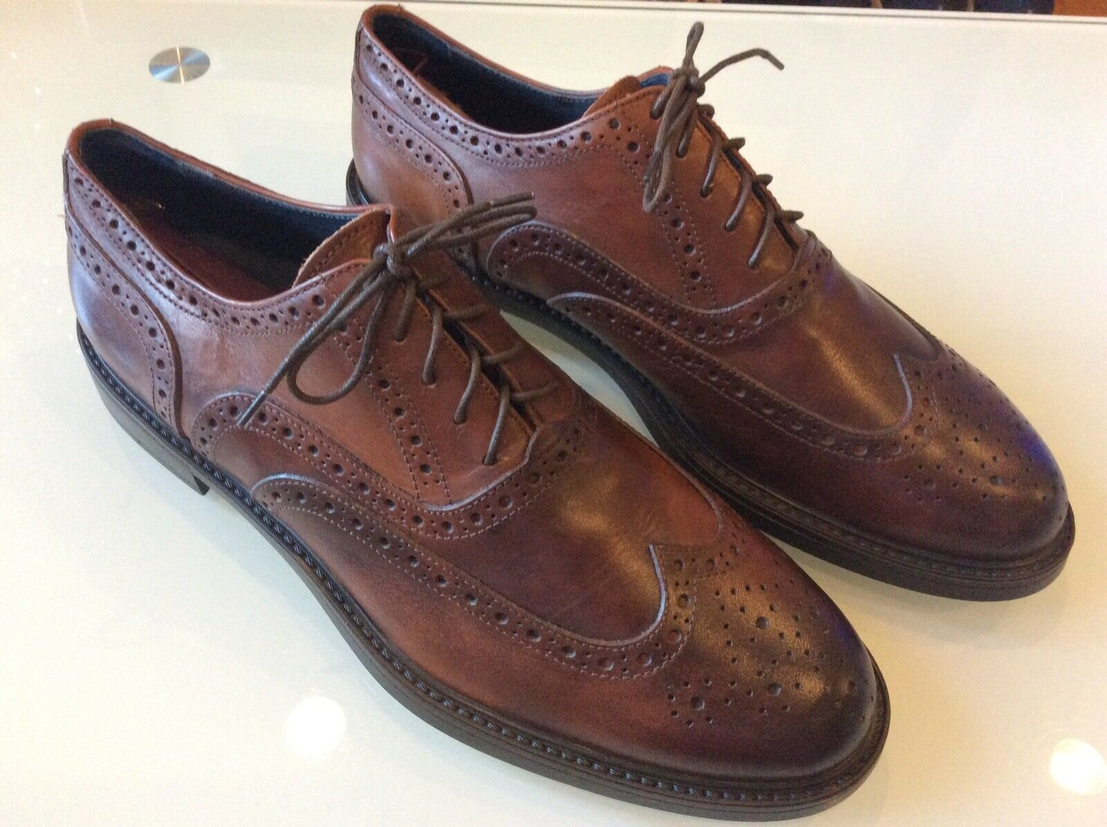 Per avvio New York Men 65533;s Cognac Leather Wing Tips  Oxfords Dimensione 10.5  128.00  salutare