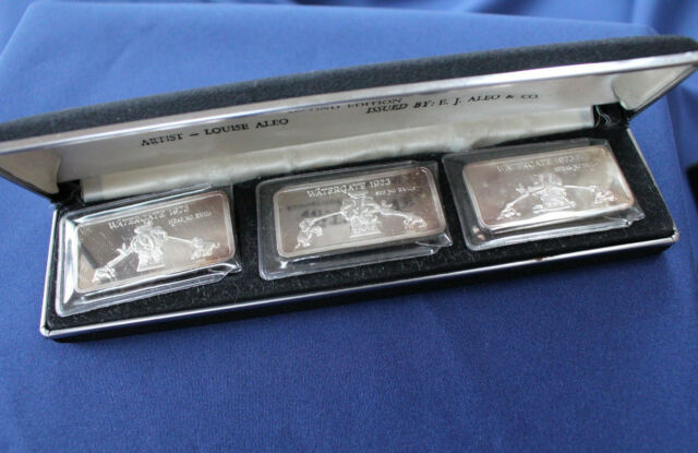 1973 E.J. Aleo Watergate EJA-4 Hear See Speak No Evil Silver Art Bar Set P0700