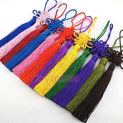 2Pcs Handmade Chinese Knot Ornaments Good Luck Pendants 12Colors-1 22cm