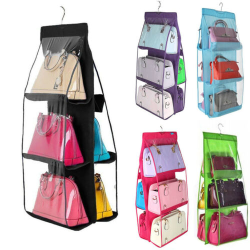 Hanging Handbag Organizer,6 Pocket Shelf Bag Storage Holder Wardrobe Closets