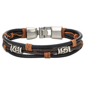 Herren-Damen-Armband-Tribal-Geflochten-Armreif-Leder-Seil-Legierung-Braun-VG