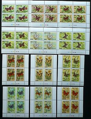 Bhutan Insects & Butterflies 4 X Bhutan 1990 Mi 1242-1253 ** Mnh 12 Werte Schmetterlinge Butterflies Diversified Latest Designs