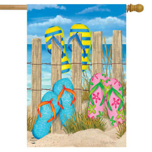 """Day in the Sun Summer House Flag Flip Flops Welcome Shoreline 28/"""" x 40/"""""""