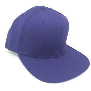Vintage New Era Snapback Hat Youth Size Purple Blank Flat Brim Made in USA
