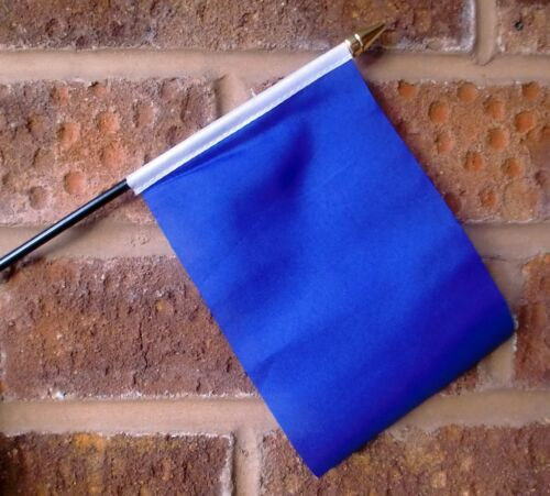 PLAIN BLUE flag PACK OF TEN SMALL HAND WAVING FLAGS