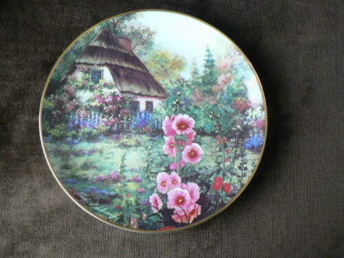 Franklin Mint Collector Plate Hollyhock Cottage, Country Garden Flowers