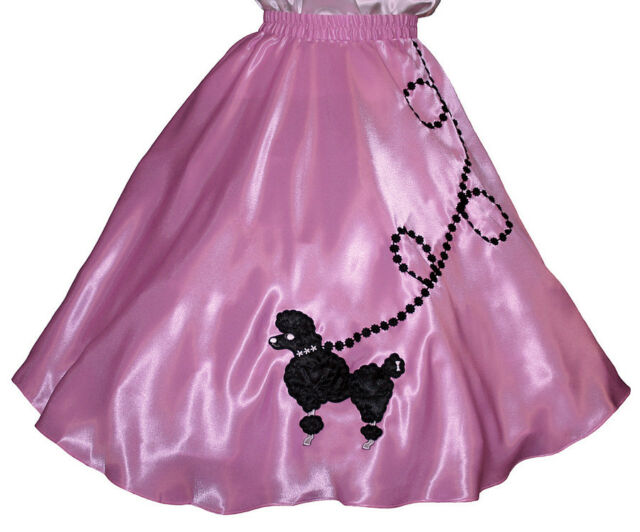 "Pink SATIN 50s Poodle Skirt _ Adult Size MEDIUM _ Waist 30""- 37"" _ Length 25"""
