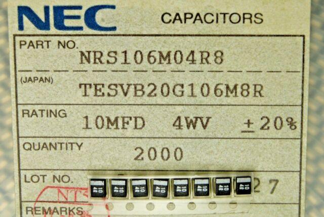10pcs NEC NRB337M004R8 4V 330UF SMD Tantalum Capacitor B-Type Black