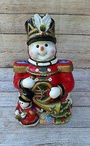 Christmas-Snowman-Soldier-Cookie-Jar-Hand-Painted-Ceramic