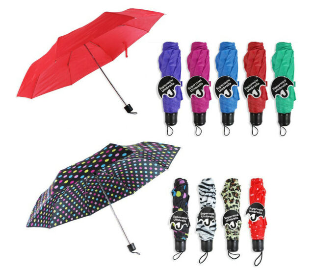 Supermini Telescopic Lightweight Compact Umbrella Strap Cover Pink Polka Dot