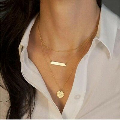 Multi Layer Chain Bar Necklace Gold Pendant and Long Strip Pendant Necklaces