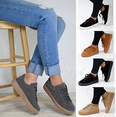 New Lace Up Flatform Creeper Shoes Casual Walking Womens Trainers