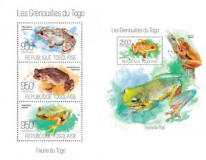 Frogs-Frosche-Amphibians-Fauna-Animals-Togo-MNH-stamps-set