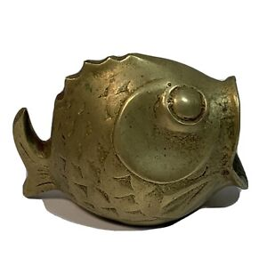 """VINTAGE SOLID BRASS FISH Ashtray Trinket Figurine OPEN MOUTH 2.5"""" Tall MCM"""