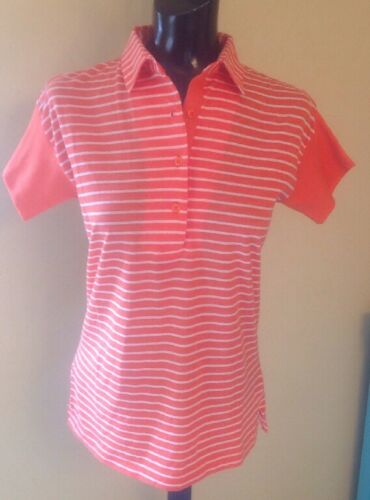 Vintage The Villager Womens Orange Striped Knit Polo Top Shirt Size Medium