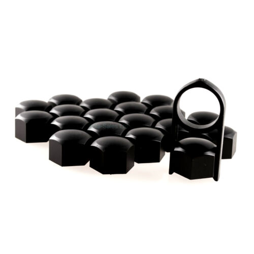 17mm Black Alloy Car Wheel Nuts Bolts Covers Caps For Any Car Set of 20 pcs