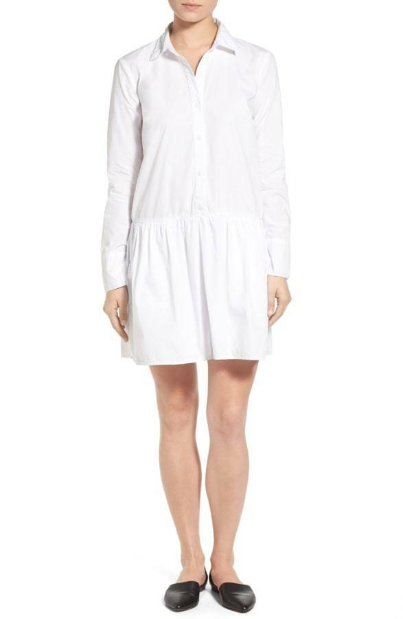 New Womens NWT L Splendid Shirt Dress White Button Down Long Sleeves Cotton USA