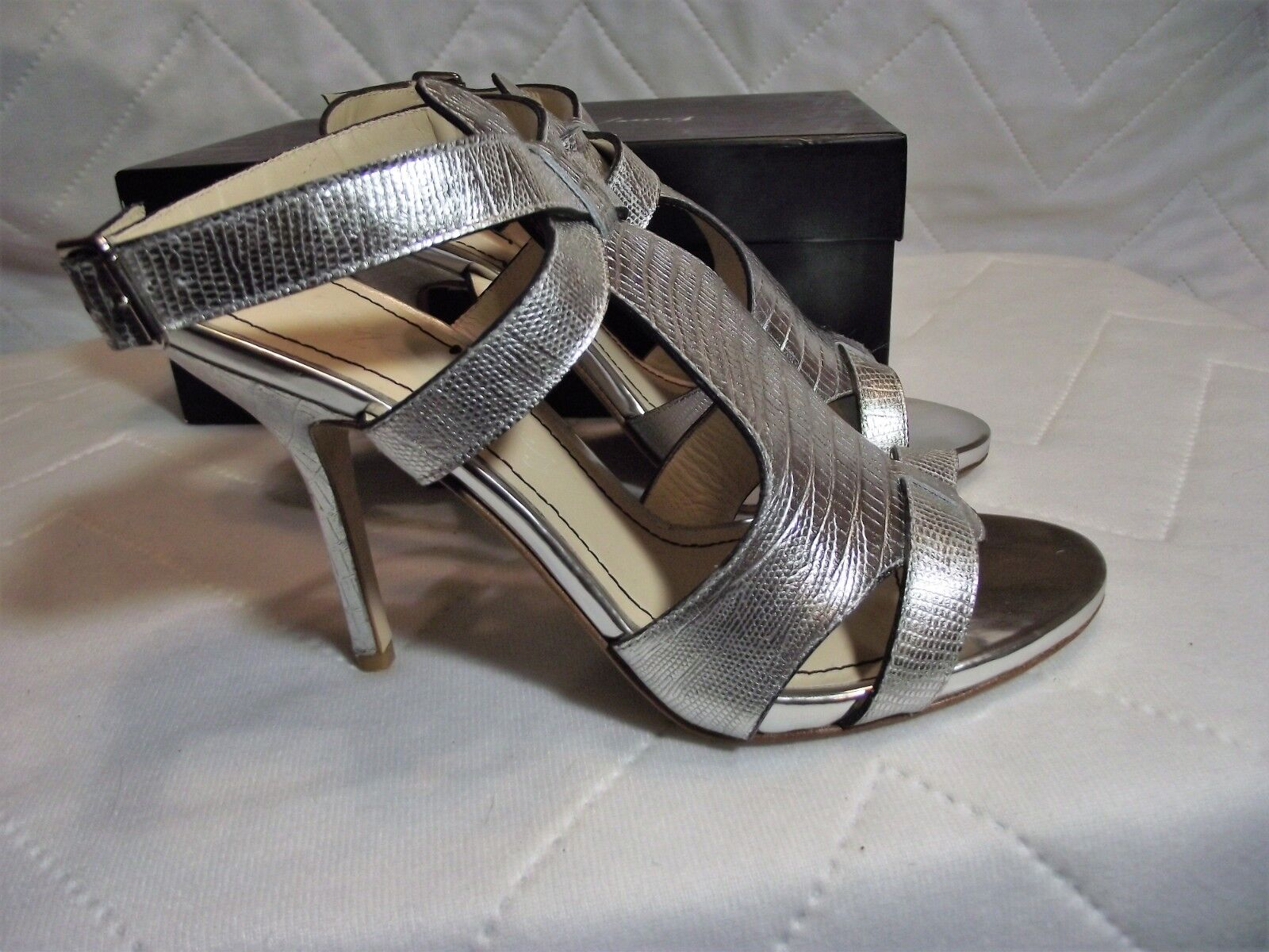 Elizabeth and James damen 9 Silber Leather Strappy Stiletto Heels NIB  350 MSRP
