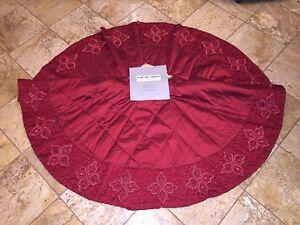 NWT-695-Kim-Seybert-Neiman-Marcus-Red-Beaded-Crystal-Christmas-Tree-Skirt-62-034