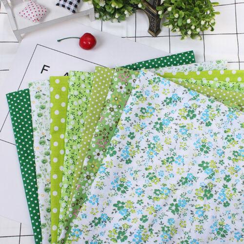L//P 7 Stück Grün Blume Baumwollstoff Stoffpaket Patchwork DIY Nähen Baumwolltuch