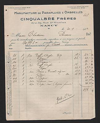 Nancy, Rechnung 1932, Cinqualbre Frère Manufacture De Parapluis & Ombrelles