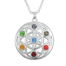 Flower of Life Chakra Crystal Pendant, Sacred Geometry, Reiki Healing