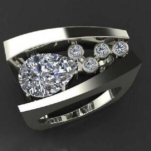 Fashion-Women-925-Silver-Rings-White-Sapphire-Wedding-Ring-Free-Ship-Size-10
