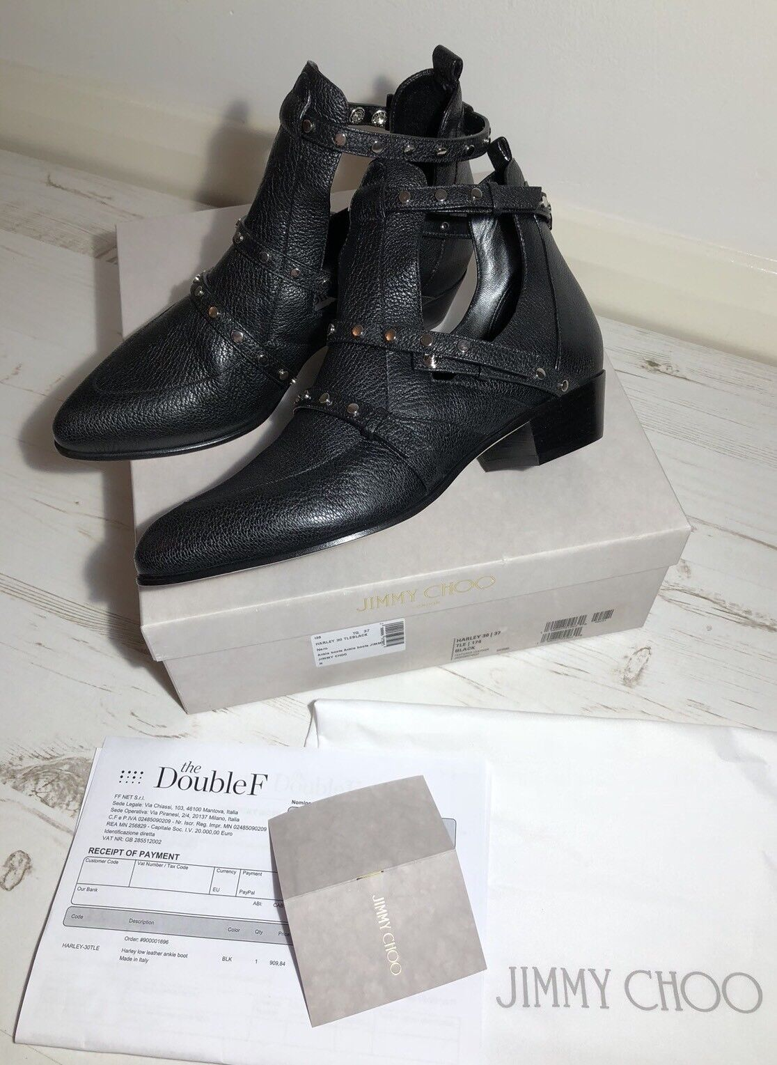 """392dafabb2fd Jimmy Choo """"Harley"""" 30 Cut Out Ankle Black Boots Size UK 4 IT 37 NEW RRP €  900"""