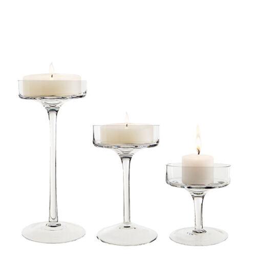 Glass Candle Holder Set Of 3 Pillar Holders Candlesticks Stemmed Candle Holders